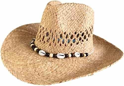 b8198084d1ad1 One Dozen Wholesale Women s Raffia Straw Cowboy Hats - Real Shell Bands by  Goal 2020
