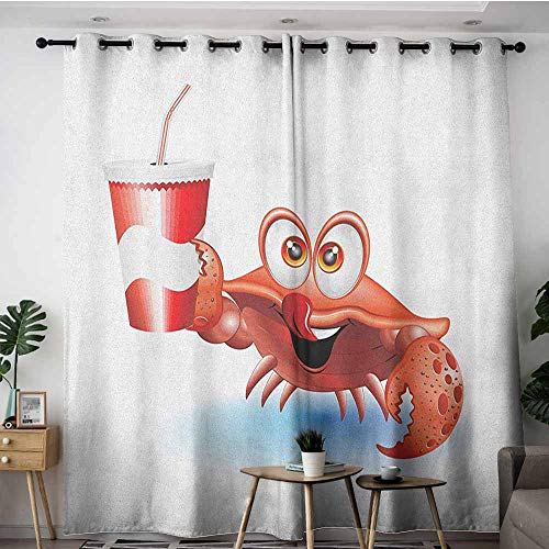 Thermal Insulated Blackout Curtains,Crabs Thirsty Marine Animal with Drink on a Paper Cup with Straw Summertime Theme,Insulated with Grommet Curtains for Bedroom,W96x72L Vermilion White Blue