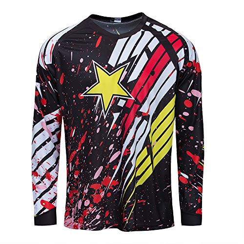 Cycling Jersey Men Long Sleeve MTB Motorcycle T Shirt Bike Bicycle Clothes Breathable Star Yellow Red Size L