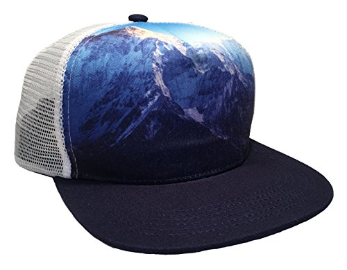 45 Supply Co. Classic Trucker Hat Mesh Back Flat Visor (Everest Design: Blue, (Foam Classic Mesh Truckers Cap)
