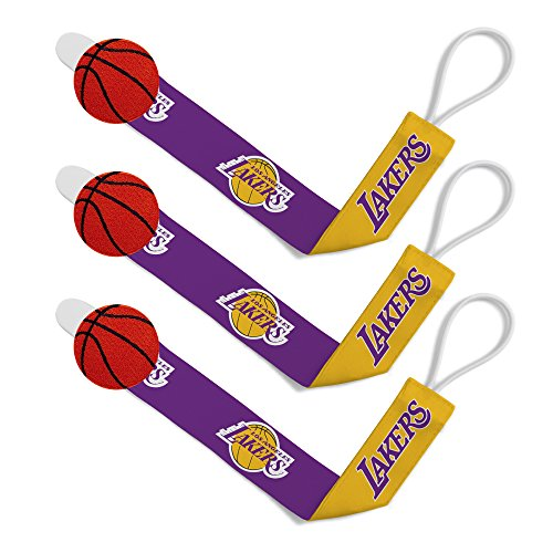 (Baby Fanatic NBA Los Angeles Lakers Unisex LAL313Pacifier Clip (3 Pack) - Los Angeles Lakers)