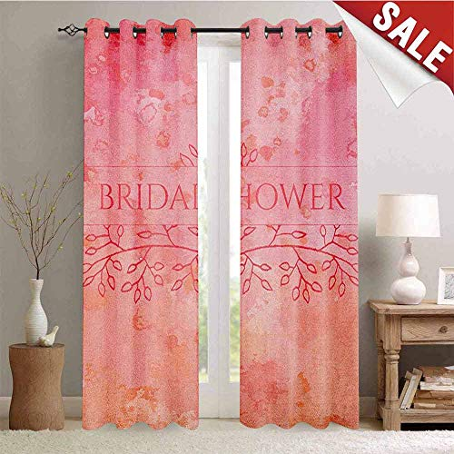 Hengshu Bridal Shower Window Curtain Drape Bride Invitation Grunge Abstract Backdrop Floral Design Print Customized Curtains W108 x L96 Inch Pale Pink and Salmon (Baby Invitations Shower Pink Paisley)