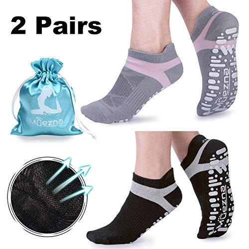 Muezna Non Slip Yoga Socks for Women, Anti-Skid Pilates, Barre, Bikram Fitness Socks with Grips, Size 5-10 (Black Gray)
