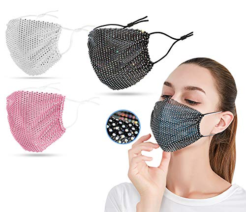 Sparkly Rhinestone Mesh Mask Hollow Face Jewelry Bling Crystal Masquerade Halloween Party Nightclub Masks for Women Girls (Black Multi+Pink+White)