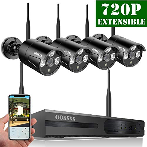 【2018 Update】 8-Channel HD 1080P Wireless Network/IP Security Camera System(IP Wireless WiFi NVR Kits),4Pcs 720P 1.0 Megapixel Wireless Indoor/Outdoor IR Bullet IP Cameras,P2P,App,No HDD
