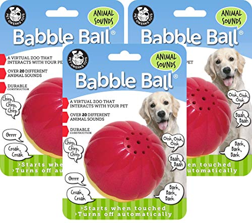 (Pet Qwerks 3 Pack of Animal Sounds Babble Ball Interactive Dog Toy, Large)