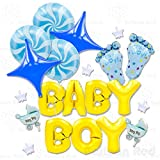 Baby Shower Helium Foil Mylar Balloons Bouquet for Wall Decorations Only (Premium Quality), Boy Footprint Set (21 pcs)
