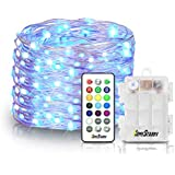 Homestarry LED Fairy String Multi Color Changing Twinkle Lights with Remote, 16.4 ft 50, Battery Powered, Indoor Decorative Silver Wire Bedroom,Patio,Outdoor Garden,Stroller,Christmas Tree,13 Option