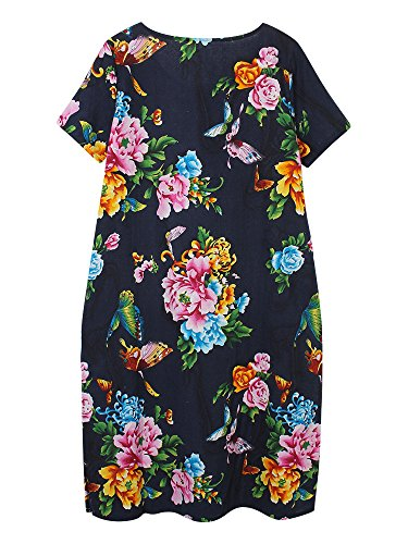 Printed Navy Chinese Dress Linen Elegant Flower Split Frog Cotton Women HfqIwU