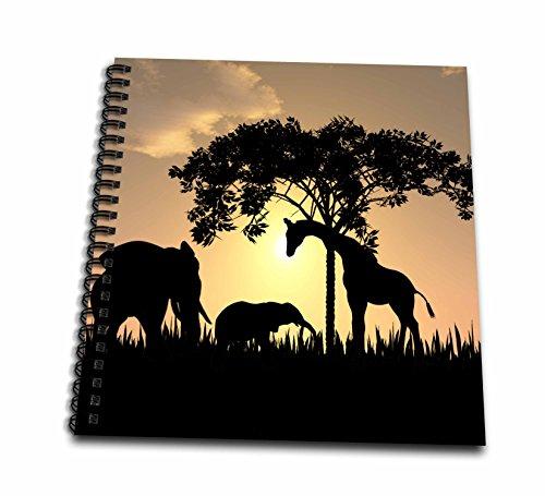 3dRose db_48979_2 African Safari Silhouette Memory Book, 12 by 12-Inch