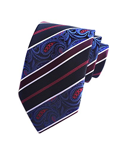 - Secdtie Mens Slim Tie White Narrow Stripe Black Blue Wine Red Suit Necktie YUF07