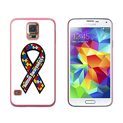 Autism Awareness Ribbon on White - Snap On Hard Protective Case for Samsung Galaxy S5 - Pink