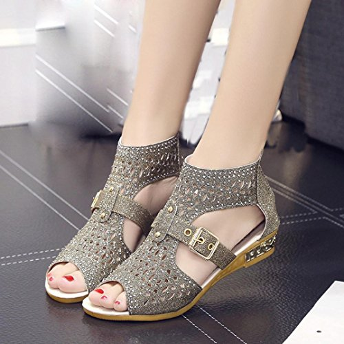 Pumps Sexy Womens Peep Mouth Sandals Fish Ladies Shoes Out Clode® Hollow Sandals Summer Low Gilrs Beach Heel Gold Toe Wedge 7pqqOdn