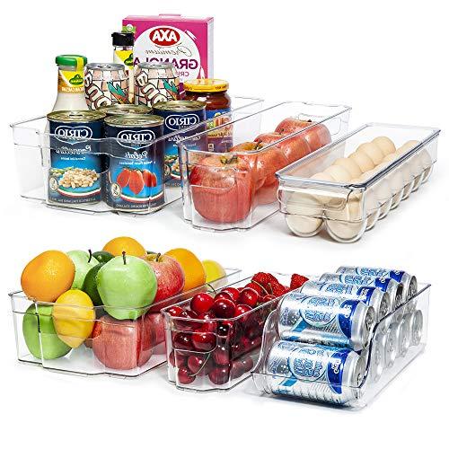 Vtopmart Refrigerator Organizer Bins, 6pcs Clear Plastic Fridge Organizer, BPA Free Refridge bins for Freezer, Cabinet…