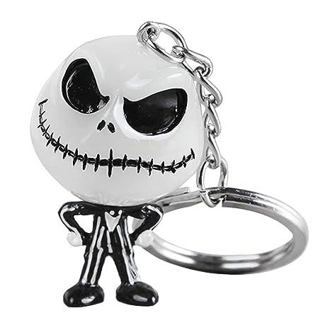 Yifeict Creative Halloween Lumineux Tête De Mort Dessin Animé Porte Clés Cool Porte Clés Sac à Dos De Voiture Ghost Pendentif Décor