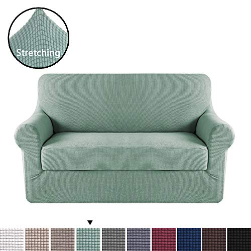 H.VERSAILTEX 2 Pieces Loveseat Slipcovers Stylish Furniture Cover/Protector, Stay in Place with Lycra Spandex Stretch Durable Fabric, Sage Color ()