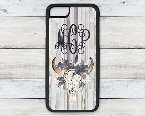 Personalized Monogram Floral Bull Skull Phone Case Reclaimed Wood Background iPhone 6 7 8 Plus