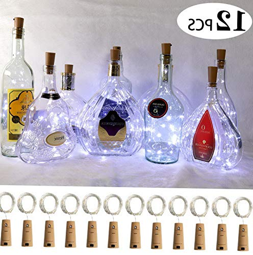 Mikash Wine Bottle Lights with Cork, 12 Pack Starry Fairy Lights Battery Operated, 7.2ft 20LED Cork Shape Silver Copper Wire/Christmas Halloween, Wedding - White   7.2ft   Model WDDNG - 188]()