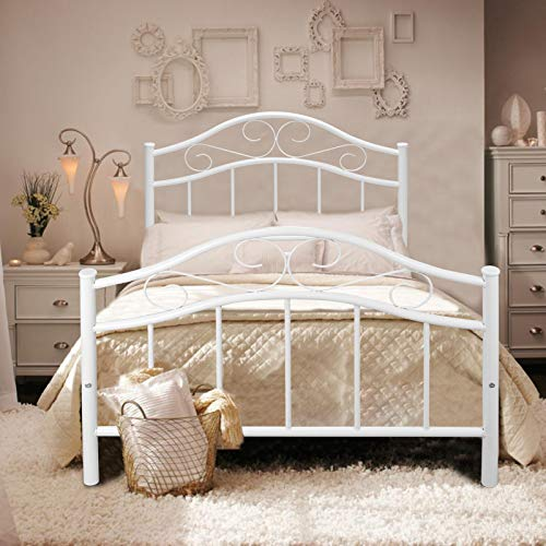 Kingpex Metal Bed Frame Twin Size with Headboard and Footboard/Metal Platform/Steel Slats Bed/Mattress Foundation/Box Spring Replacement/6 Legs/for Girls Boys Kids Adult Bedroom/White