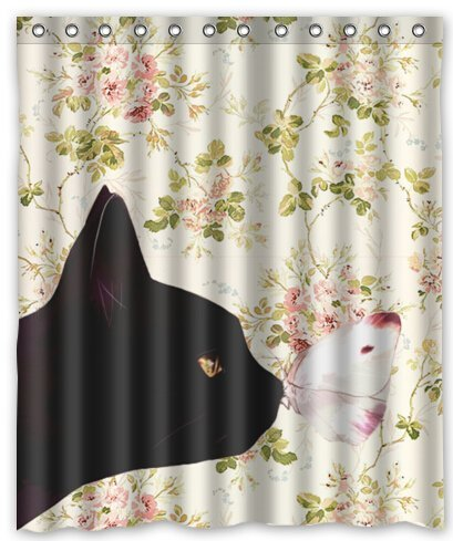 BravoVision Fashion Custom the Cat and the Butterfly in Floral Pattern Waterproof Fabric Bath Shower Curtain