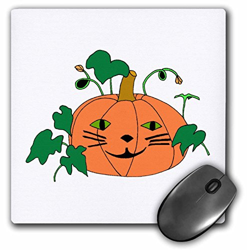 3dRose CherylsArt Holidays Halloween - Digital Painting of a Cute Pumpkin with a cat face for Halloween - Mousepad (mp_223207_1) -