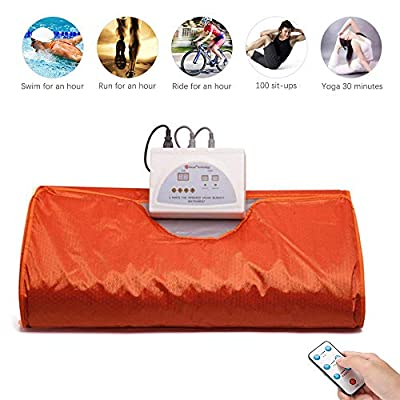 Uttiny Far Infrared Sauna Blanket, 70.8x31.4 Inches 110V 2 Zone Waterproof Detoxification Blanket with Safety Switch Used As Home Sauna for Body Shape Slimming Fitness (Orange) (Orange) : Garden & Outdoor