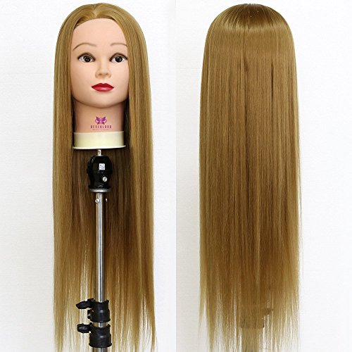 "Neverland Beauty 26"" Long Smooth 100% Synthetic Brown Hair Hairdressing Equipment Styling Head Doll Mannequin Training Head Tools Braiding Cutting Student Practice Model with Clamp from Neverland Beauty"
