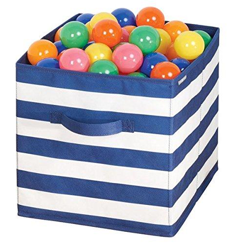mDesign rangement jouet – boîte de rangement tissu pour la chambre d'enfant ou la chambre à coucher – panier de rangement tissu avec des poignées – bleu marine / blanc MetroDecor Others