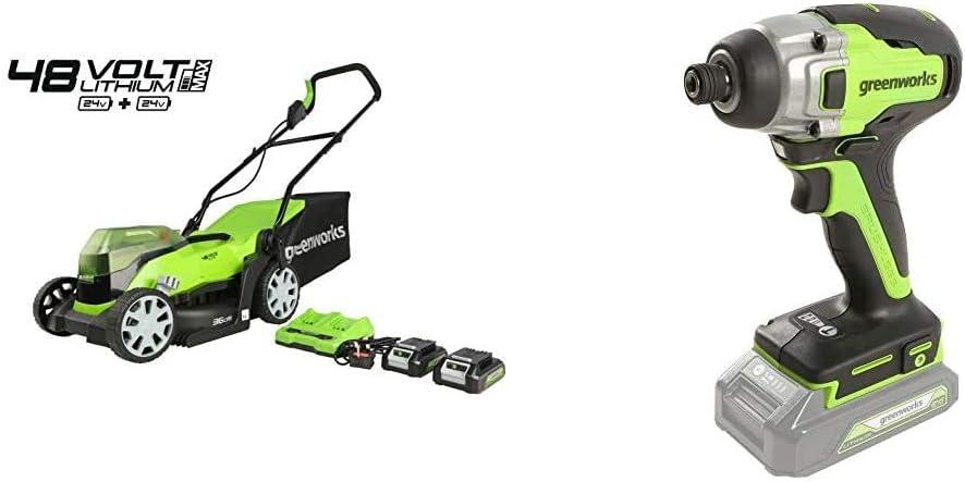 Greenworks Cortacésped con batería G24X2LM36K2x + Destornillador inalámbrico y de Taladro GD24ID