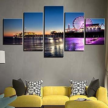 Painting Art Moderne Leinwand Einrichtung Wohnzimmer Wand 5 Stück Riesenrad  Nacht Szene Modulares Framework Malerei Poster