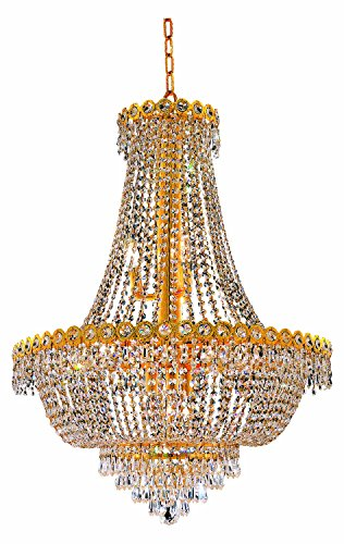 19th Century Chandelier - Elegant Lighting 1900D24G/Ss Swarovski Elements Clear Crystal Century 12-Light, Two-Tier Crystal Chandelier, Finished In Gold With Clear Crystals