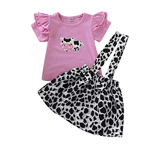 Cow Girl Outfit (Toddler Baby Girl Ruffled Fly Sleeve Cow Top Shirts + Leopard Suspender Skirts Overall Dress Clothes (2-3 Years,)