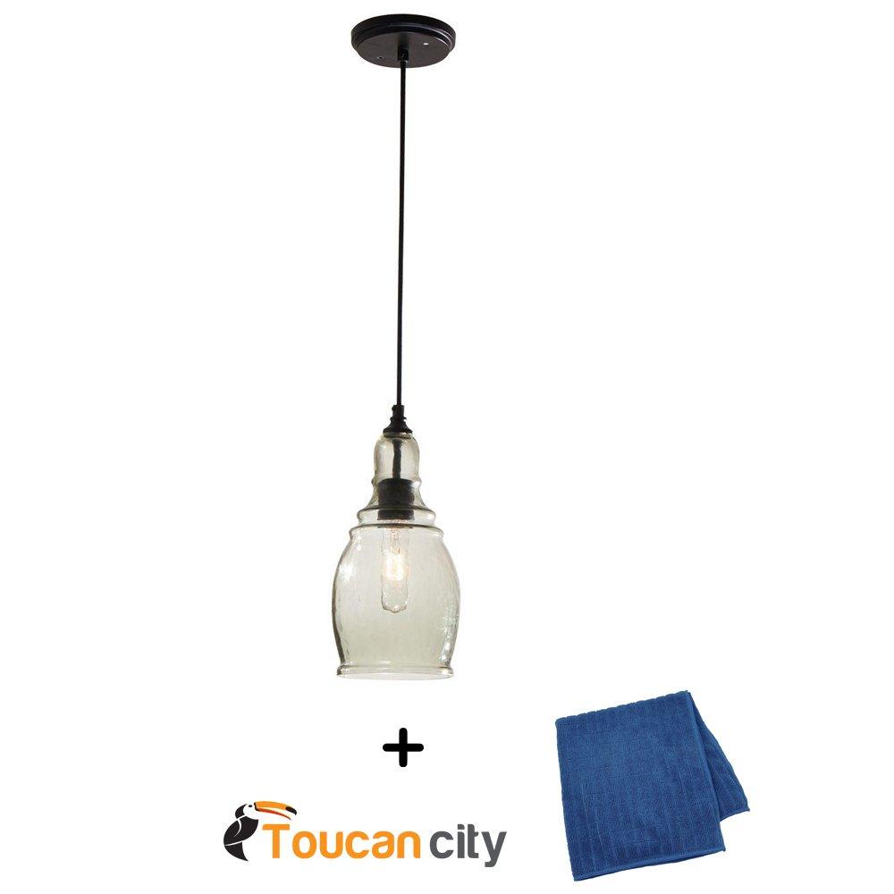Hampton Bay 1-Light Black Mini Pendant 17221 and Toucan City Microfiber Glass and Window Cloth
