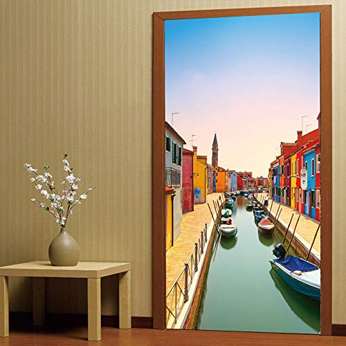 - Home Decoration Wall Stickers 3D Stereo Door Venice Burano Island Canal Living Room Bedroom Door Personality Decorative Wall Sticker 38.5200CMWall Sticker Decals Home Wall DIY Decors Self-adhesive.