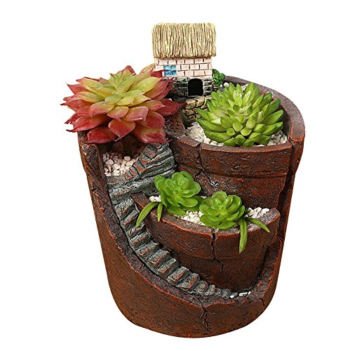 Micro Landscape Tiny Creative Flower Pot Combination Resin Succulent Plant Pot (Small House) by ()