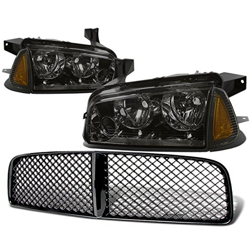 (For Dodge Charger Pair of Smoke Lens Amber Corner Headlight+Black Front Grille)