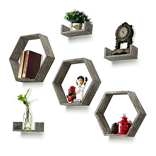 (Round Rich Wall Shelf Set of 6 - Rustic Wood 3 Hexagon Boxes and 3 Small Shelves for Free Grouping)