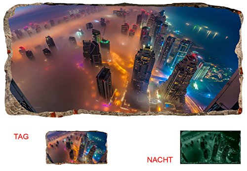 Startonight 3D Mural Wall Art Photo Decor Skyscrapers From Above Amazing Dual View Surprise Large Wall Mural Wallpaper for Living Room or Bedroom Urban Wall Art 120 x 220 cm - New Age 3 Light Chandelier