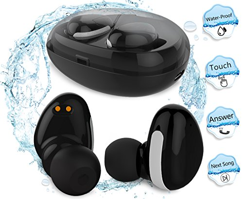 Waterproof Bluetooth Earbuds,MorePro Touch Control Headphone Wireless Car Earpiece with Charging Case, Sports Mini Invisible Tws Stereo Earphone with Mic for Smartphone /iOS/ - Hours Pro Today Bass