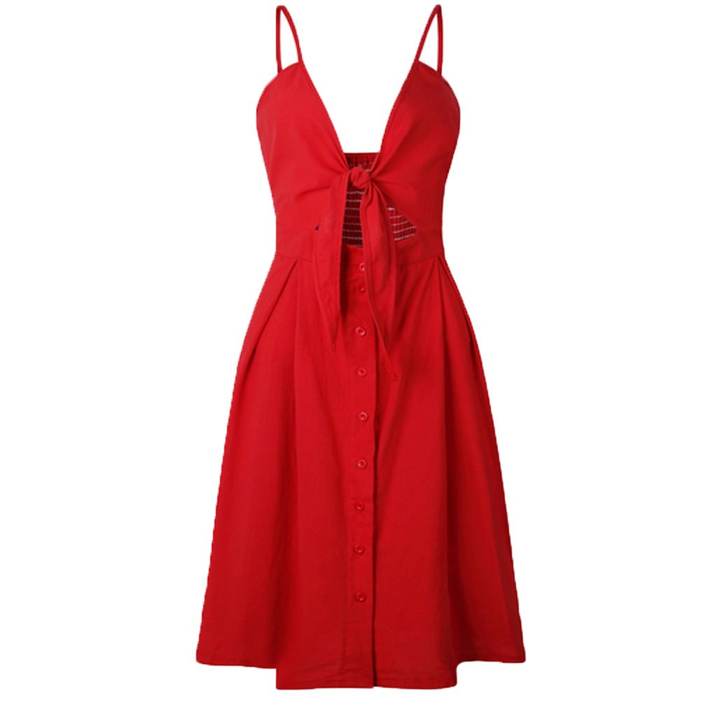 FashionYoung Arco Sin Respaldo Impresión De Lunares De La Playa Vestido De Verano De Las Mujeres De Algodón Con Cuello En V Profundo Botones Rojo Blanco ...