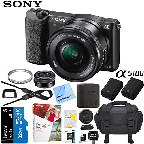 Sony a5100 Alpha Mirrorless Digital Camera 24MP DSLR (Black) w/ 16-50mm Lens ILCE-5100L/B with Extra Battery Case + Lexar Professional 633x 32GB SDHC/SDXC UHS-I Card Bundle