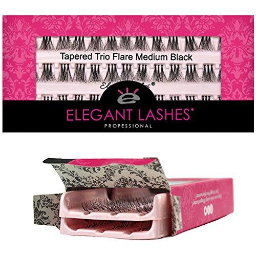 Elegant Lashes Tapered Trio Flare Medium Black Individual Eyelashes (Double Pack - 2 Trays) | Cruelty-Free FAUX MINK