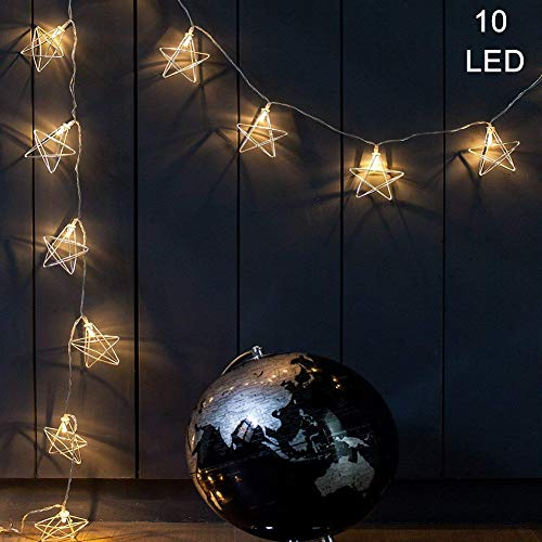 GYM HEROES Rose Gold Geometric String Lights,5 FT 10 LED Fairy Lights Battery Powered Boho Wall Decor for Home Patio Bedroom Garden Wedding Party Indoor Decoration (Star)