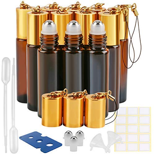 12 Pack 10 ml Amber Essential Oil Roller Bottles with Stainless Steel Roller Balls and Hanging Lids(2 Dropper,2 Funnel,15 Labels,3 Extra Roller Balls, 1 Bottle Opener) ()