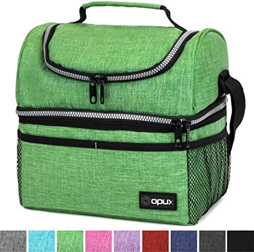 Insulated Dual Compartment Lunch Bag for Men Women | Double Deck Reusable Lunch Box CoolerShoulder Strap Leakproof Liner | Medium Lunch Pail for School Work Office (Heather Green)