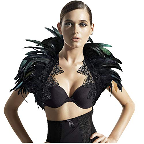 L'vow Black Feather Shrug Cape Shoulder Wrap Lace Collar Halloween Costumes for Women (Black -002)]()