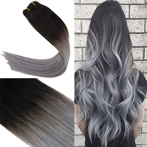 (Youngsee 7Pcs Straight Clip Extensions Remy Human Hair Ombre Color Natural Black Fading to Blue Grey 100% Remy Human Hair Extensions Clip in Real Hair 20