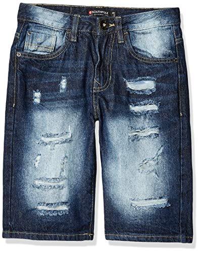 Southpole - Kids Boys' Big Ripped Denim Shorts, Dark Sand Blue, 12