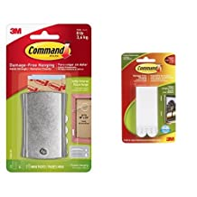 Command Universal Picture Hanger and Large Picture Hanging Strips (4 Sets of Large Strips) Bundle