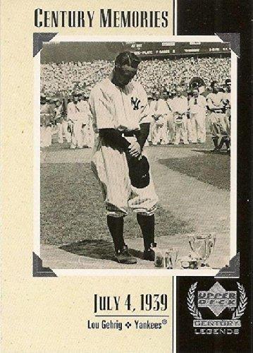 1999 Upper Deck Century Memories #124 Lou Gehrig Baseball Card - Commemorates